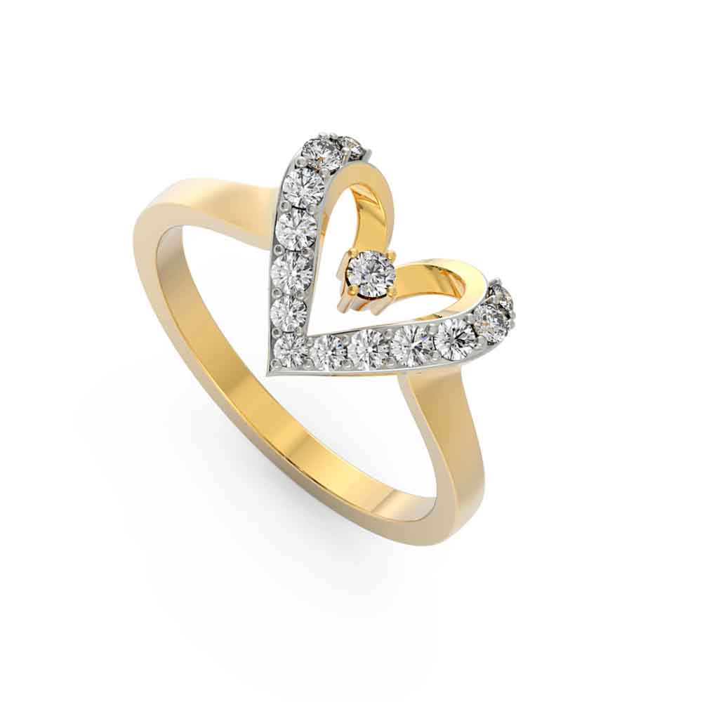 Engaging Heart 18Kt Gold Cz Finger Ring