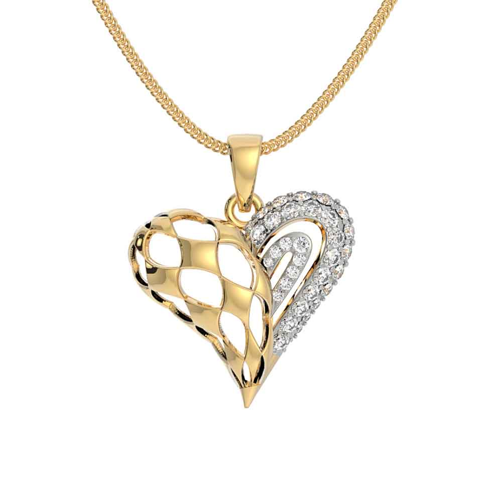 Jewelry-Exclusive Heart 18Kt Gold Cz Pendant