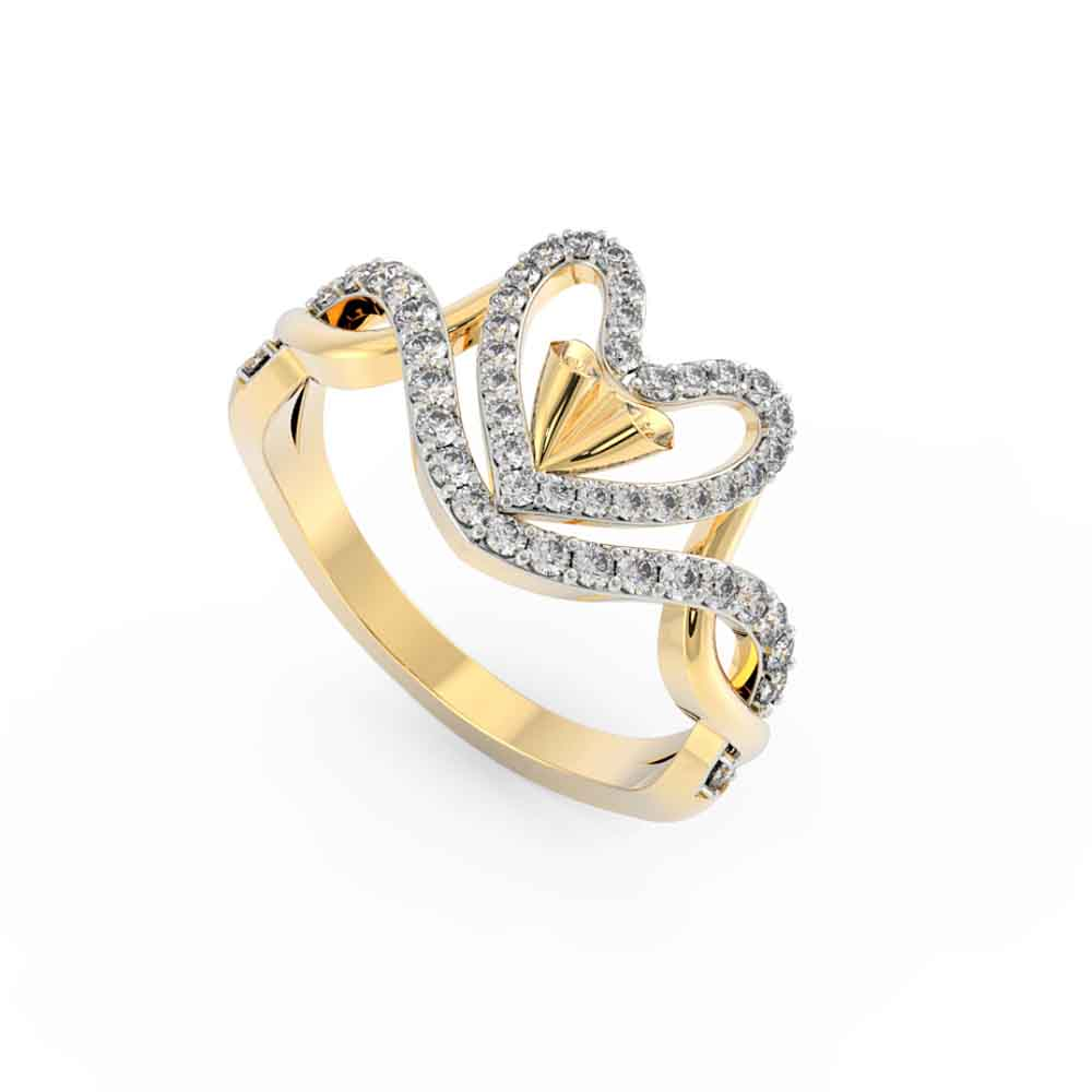 Attractive Heart 18Kt Gold Cz Finger Ring