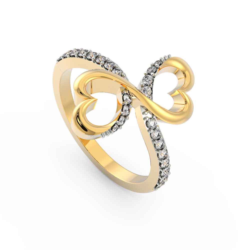 Jewelry-18Kt Gold Dual Heartcz Finger Ring