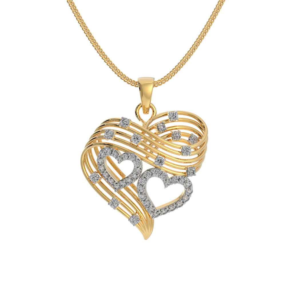 Jewelry-Charming Dual Heart 18Kt Gold Cz Pendant