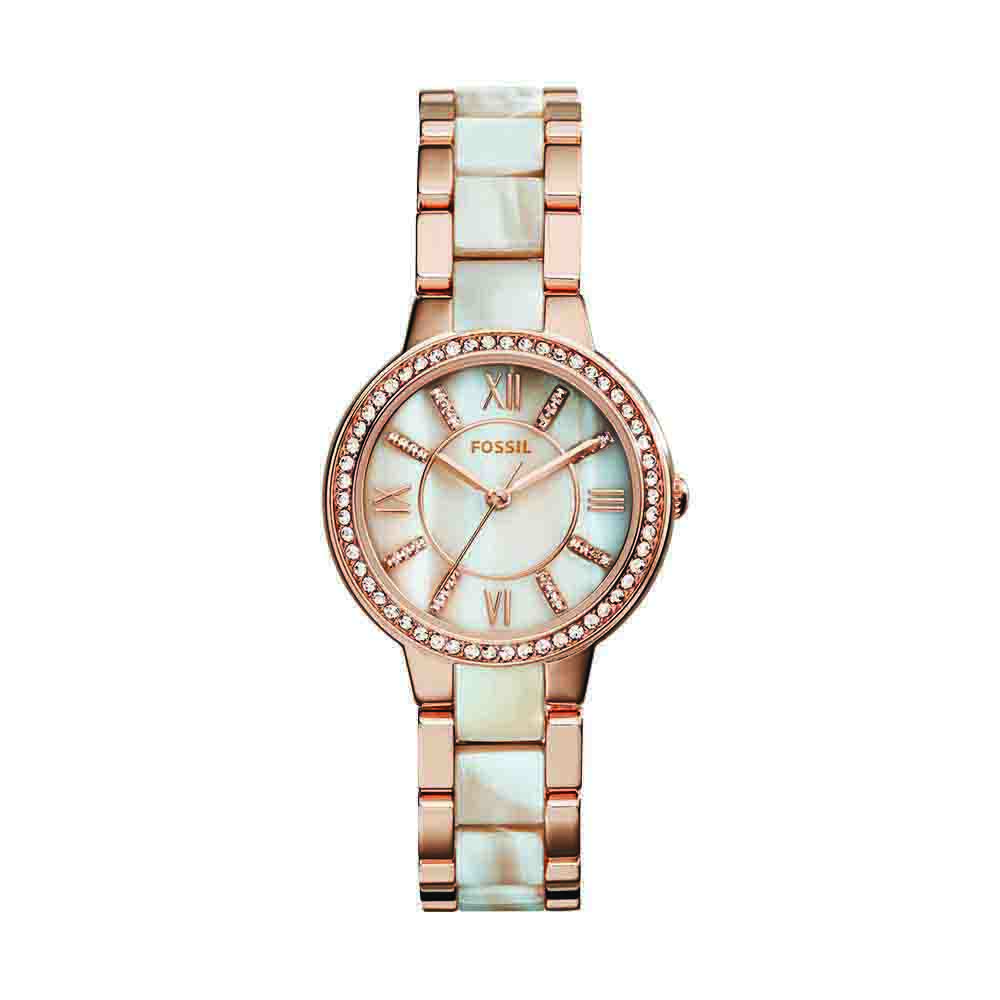 Women's Watches-Fossil Virginia Analog Mother of Pearl Dial Women's Watch