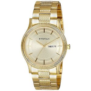 Titan Analog Champagne Dial Stainless Steel Strap Men's Watch