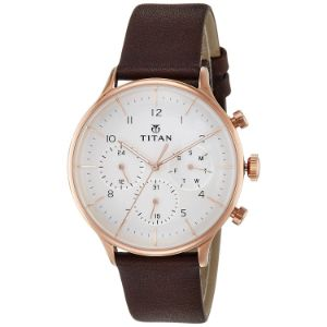 Titan On Trend White Dial Leather Strap Watch