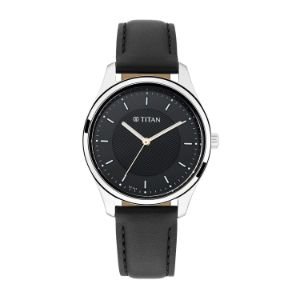 Titan Workwear Watch with Black Dial & Leather Strap