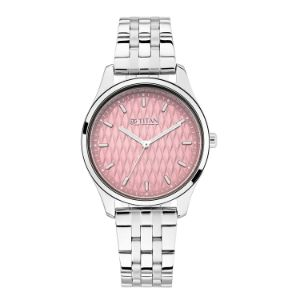 Titan Workwear Watch with Pink Dial & Stainless Steel Strap