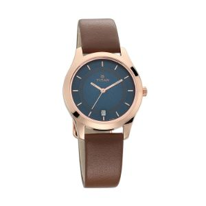 Titan Workwear Watch with Blue Dial & Stainless Steel Strap