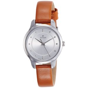 Titan Workwear Watch with Silver Dial & Leather Strap