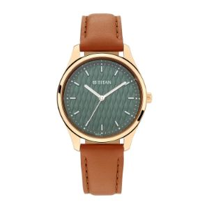 Titan Workwear Watch with Green Dial & Leather Strap