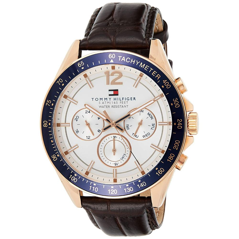 Tommy Hilfiger Men's Sport Watch with Brown Leather Band
