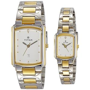 Titan Bandhan Analog White Dial Couple's Watch - NH19552955BM01