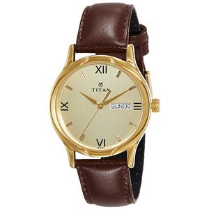 Titan Karishma Analog Champagne Dial Men's Watch - NE1580YL05