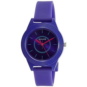 Women's Watches-Sonata Color Pop Analog Purple Dial Girls Watch-87024PP01