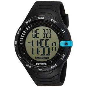 Sonata Digital Black Dial Men's Watch (77041PP03)