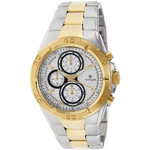 Titan White Dial Chronograph Watch for Men - 9308BM01