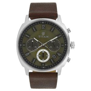 Titan Purple Past Green Dial Chronograph Watch for Men - 90081SL01J
