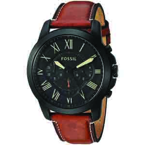 Men's Watches-Fossil Chronograph Black Dial Men's Watch