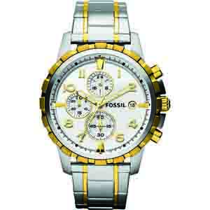 Men's Watches-Fossil Chronograph Silver Dial Men's Watch