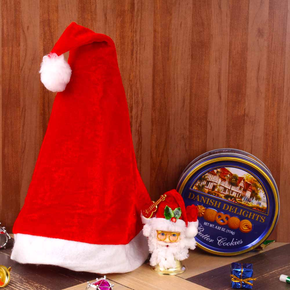 Chocolates & Cookies-Santa Cap and Bell with Danish Delights Cookies