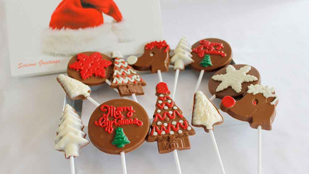 Big Assortment of Christmas Chocolate Lollipops