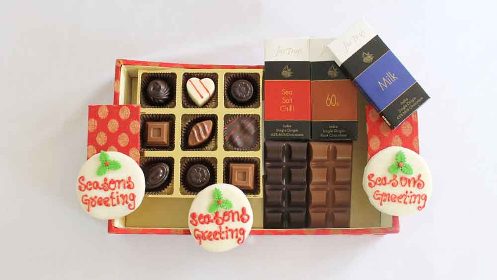 Designer Christmas and New Year Chocolate Hamper CK this hamper stock