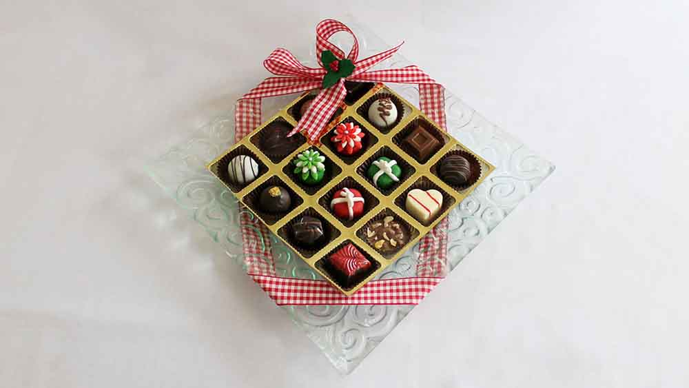 Chocolates & Cookies-Designer Platter with Christmas Marzipan Joy