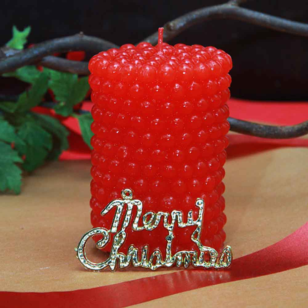 Christmas Decorations-Wax candle in red with Christmas tag