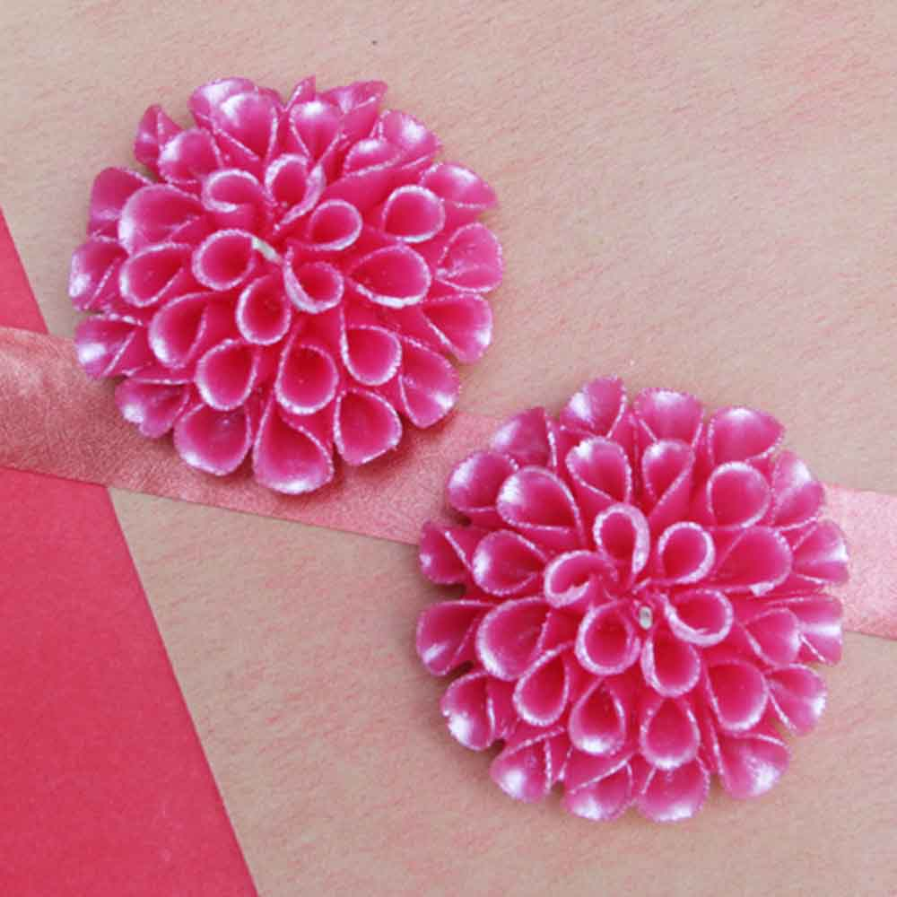 Christmas Decorations-Floral wax candles (Set of 2- Pink)
