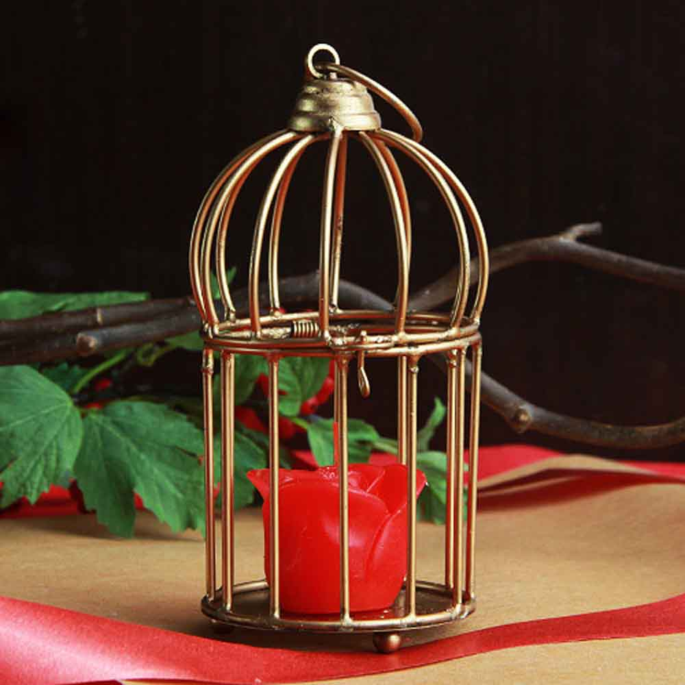 Christmas Decorations-Rose candle in cage arrangement