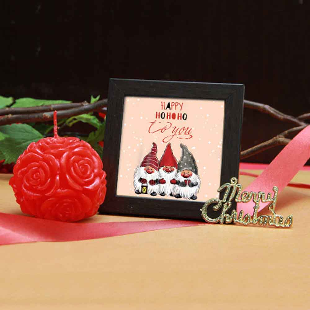 Rose Candle in red and frame
