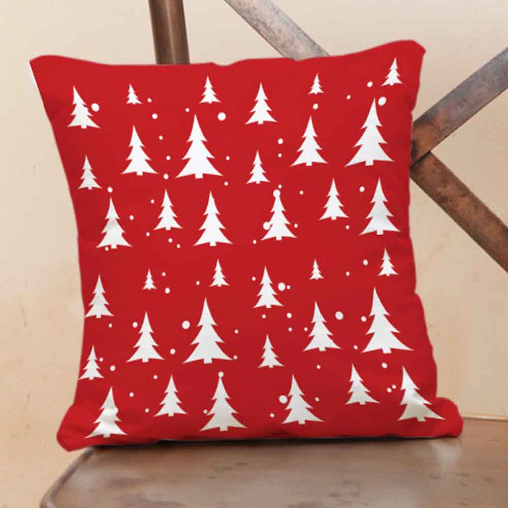 Christmas Decorations-Red cushion with X-Maa tree prints