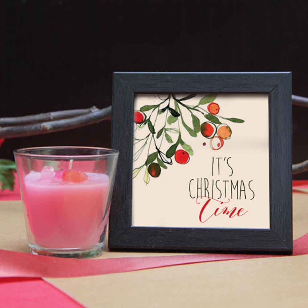 Christmas Decorations-Wooden frame with glass candle