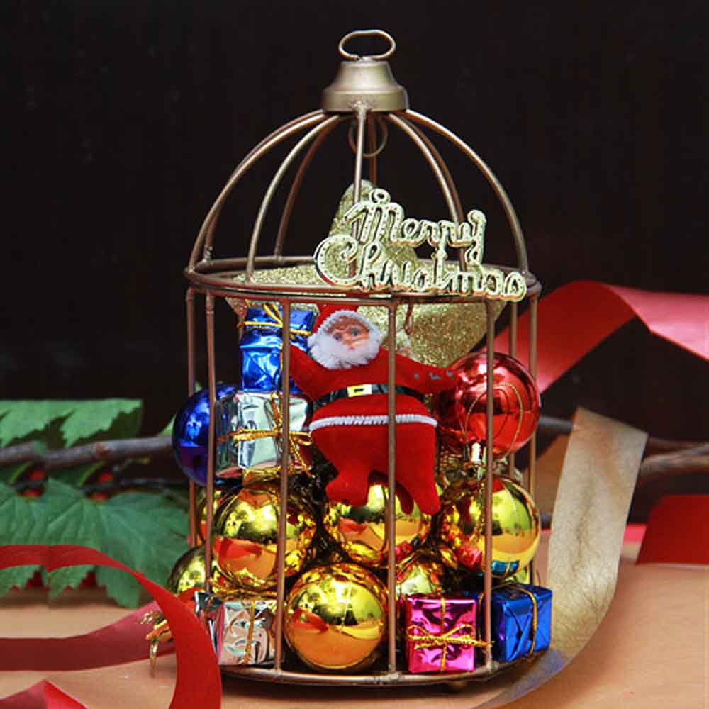 Christmas Decorations-Christmas décor in a cage arrangement