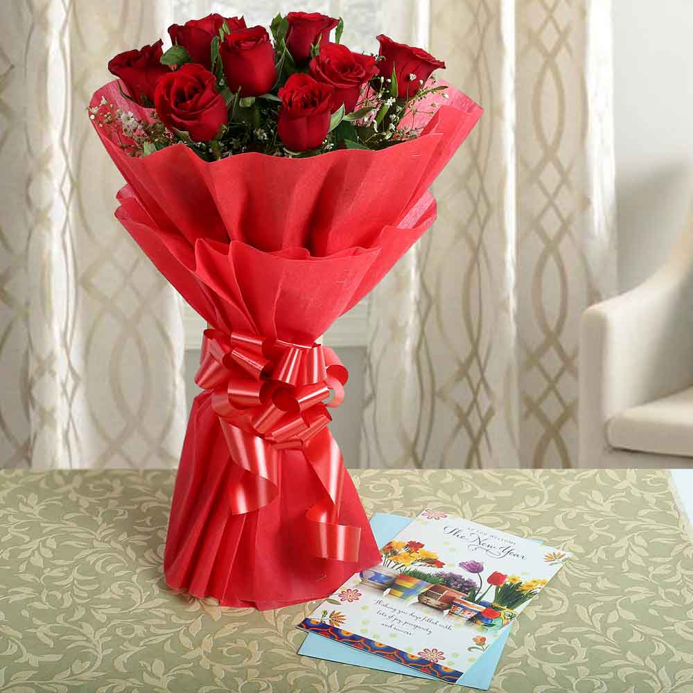 Fresh Flowers-Blushing With Red Roses