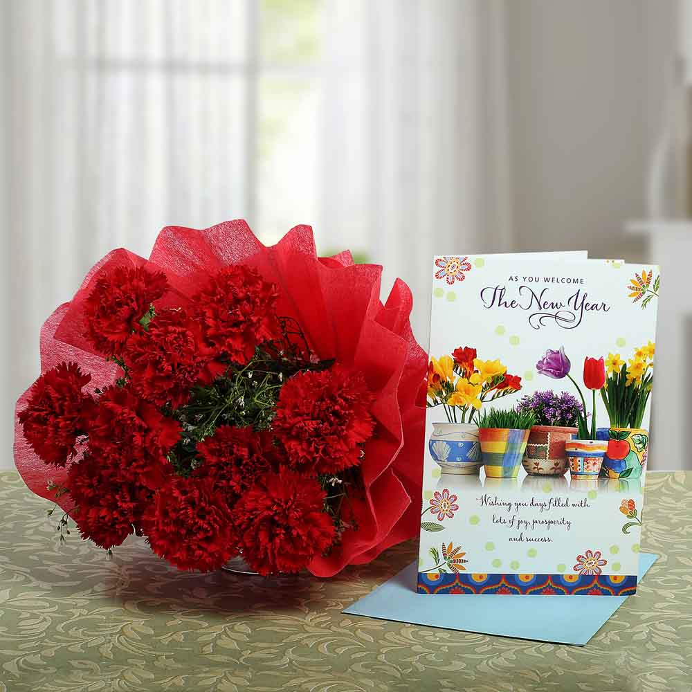 Fresh Flowers-Carnations Rich New Year Wish