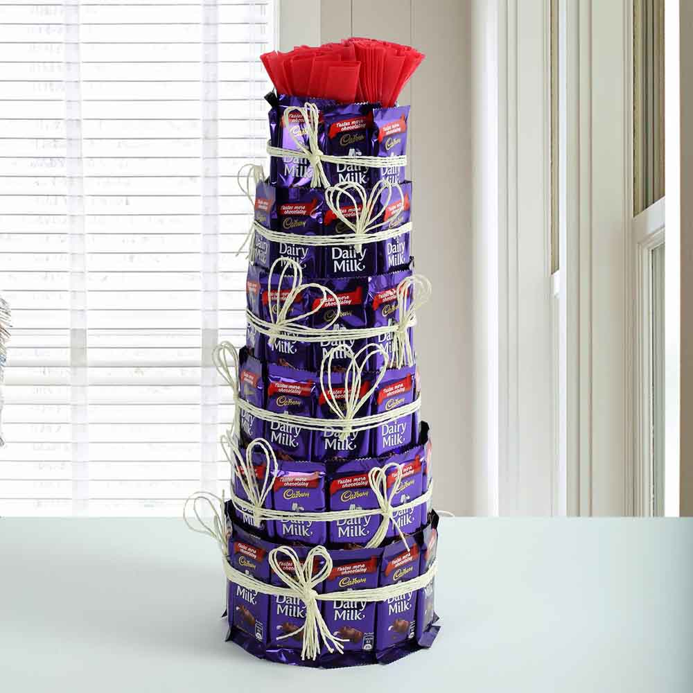 Chocolate & Flowers-Delicious Dairy Milk Tower