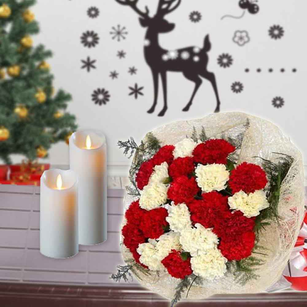 Floral Hampers-Mix Carnation Bouquet and Long Candles Combo
