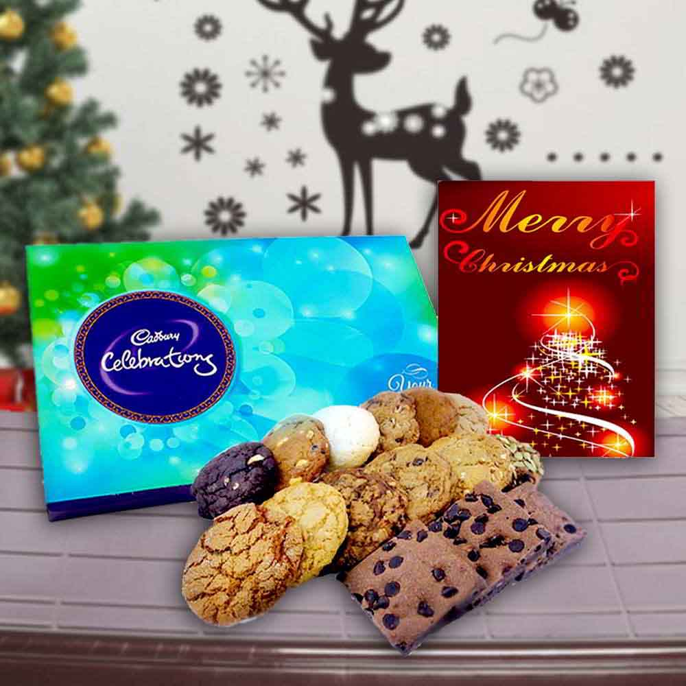 Floral Hampers-Cadbury Celebration Chocolates with Assorted Cookies and Card Combo