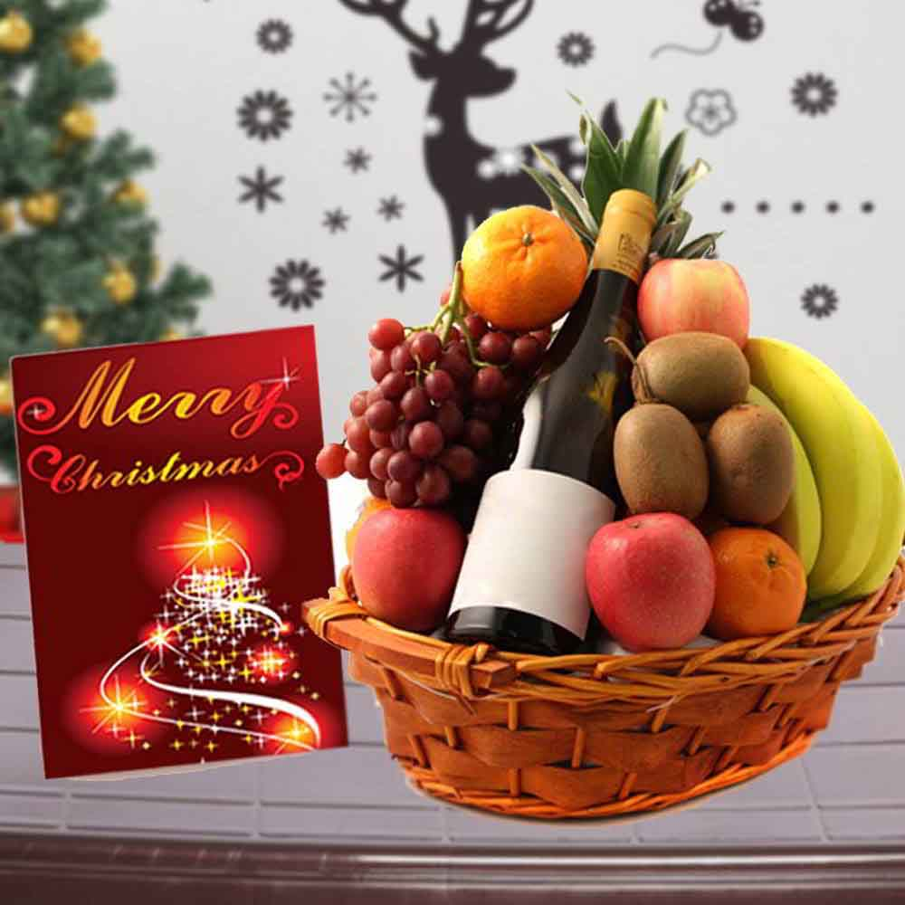 Floral Hampers-Mix Fruit Basket with Indian Wine and Christmas Card