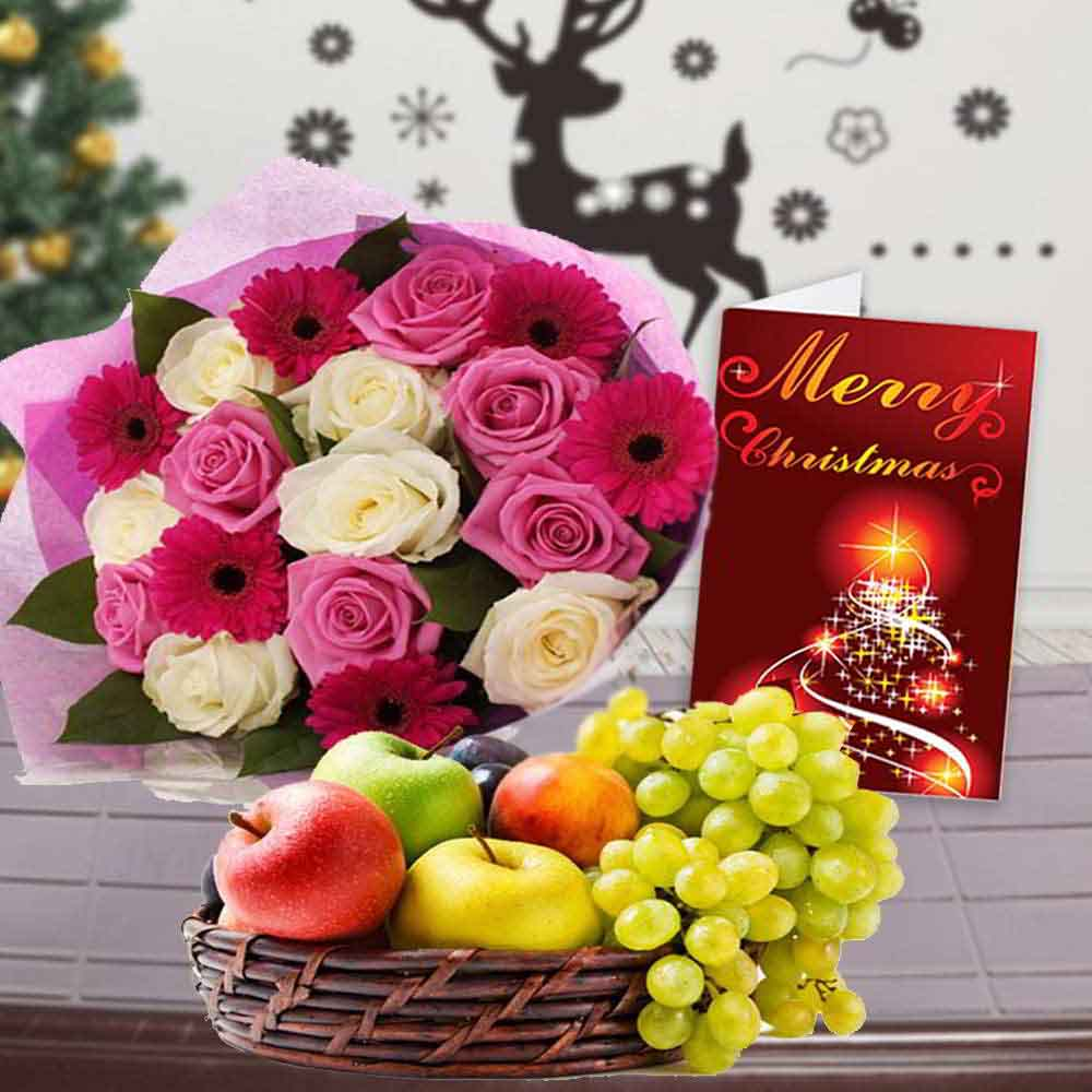 Floral Hampers-Mix Flowers Bouquet with Fruits Basket and Christmas Greeting Card