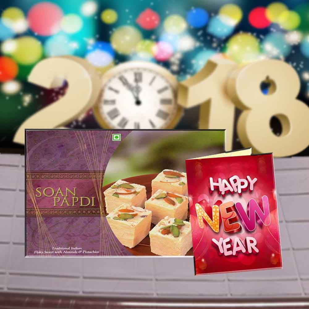 Floral Hampers-Soan Papdi Sweets and New Year Greeting Card