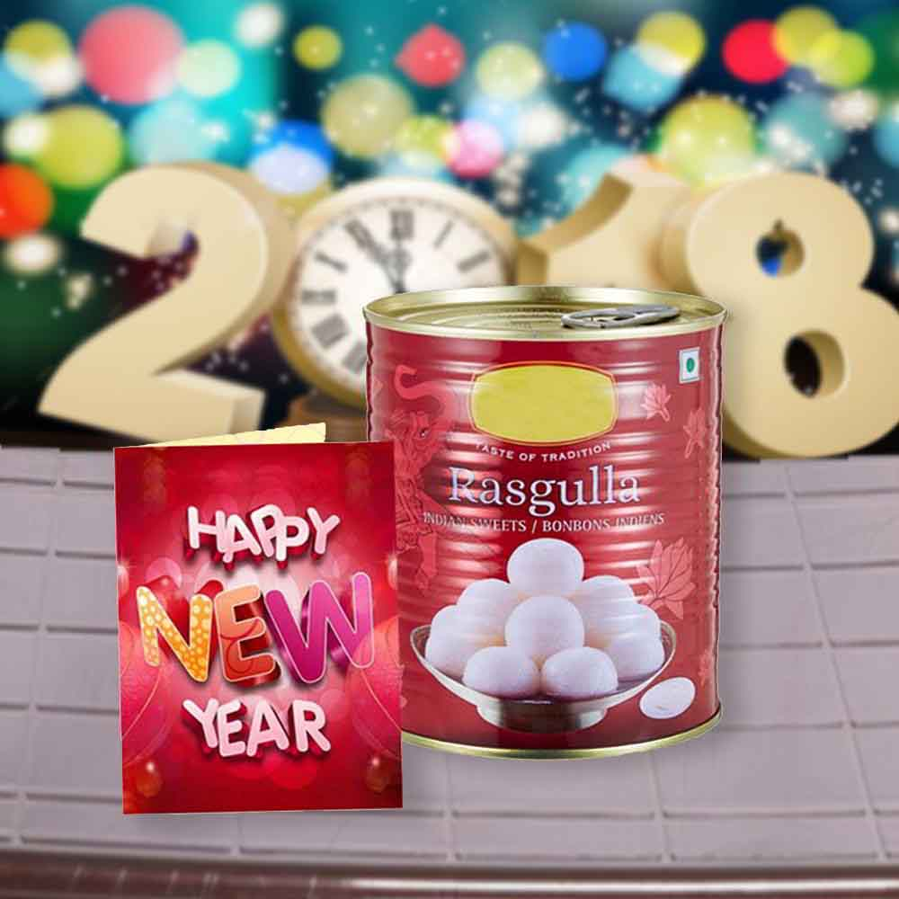Rasgulla Sweets and New Year Greeting Card