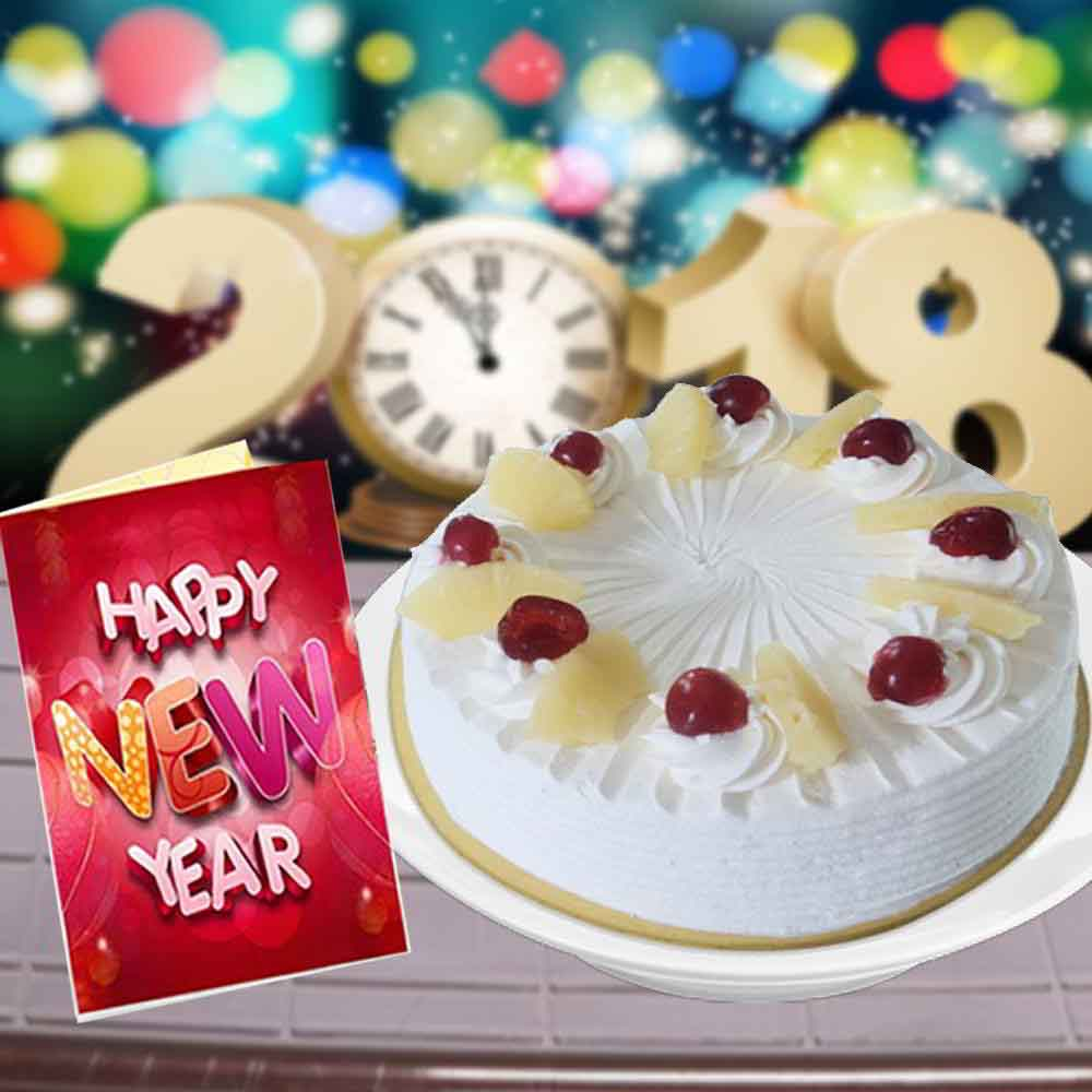 Cakes-New Year Greeting Card and Round Eggless Pineapple Cake