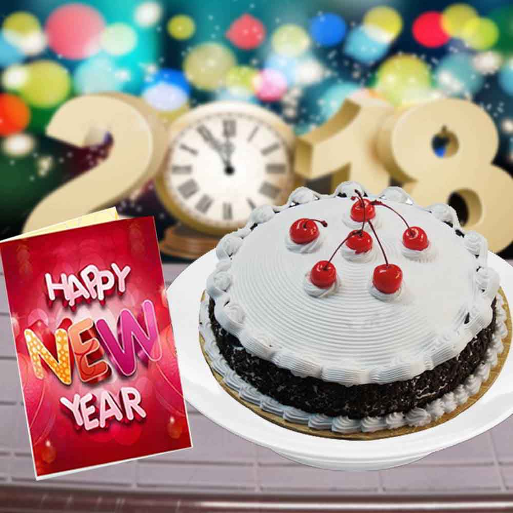 Cakes-Eggless Black Forest Cake and New Year Greeting Card