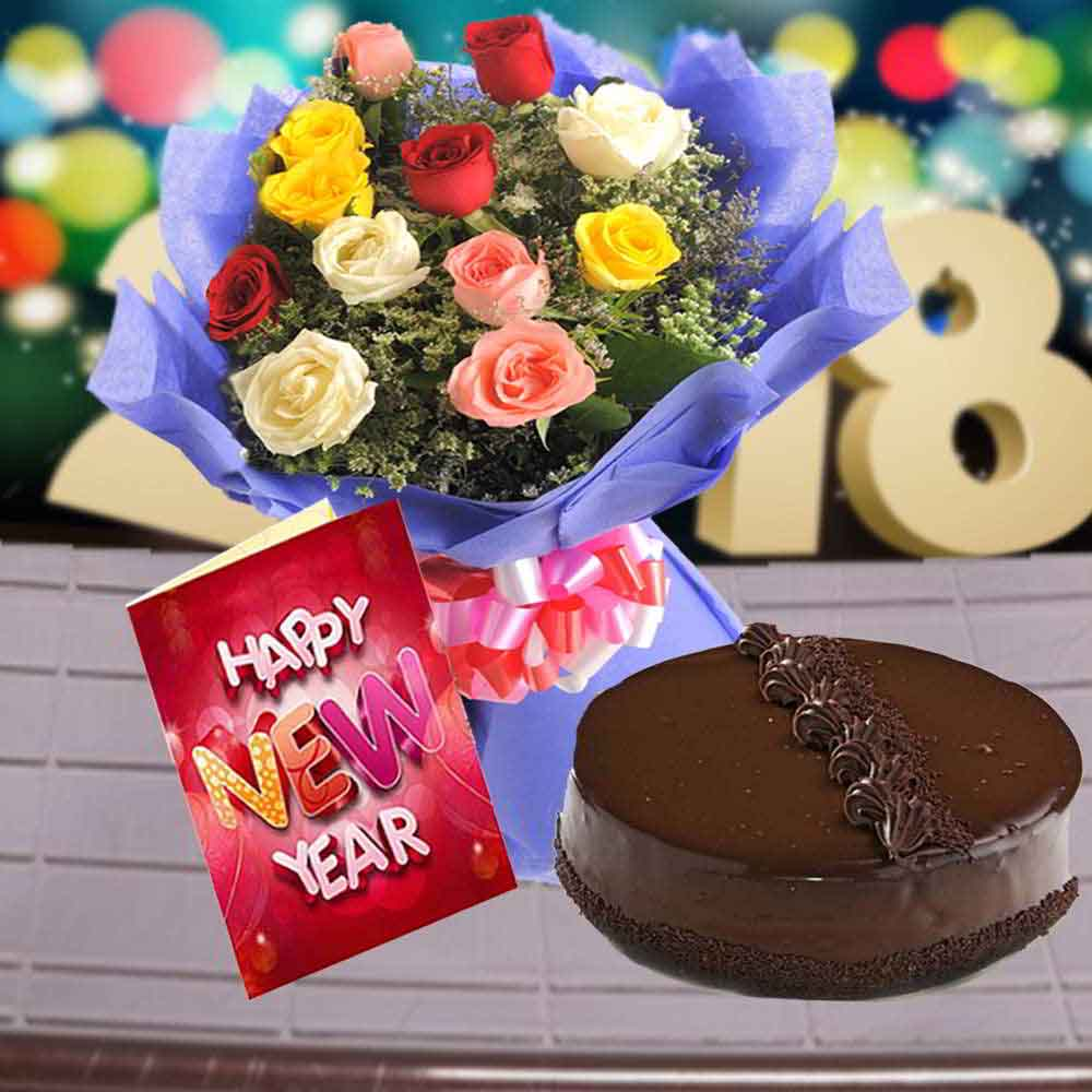 Cake & Flowers-Truffle Cake with Mix Roses Bouquet and New Year Greeting Card