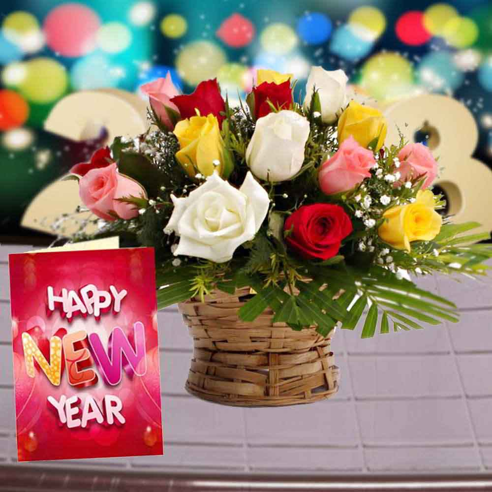 Fresh Flowers-Roses Arrangement with New Year Greeting Card