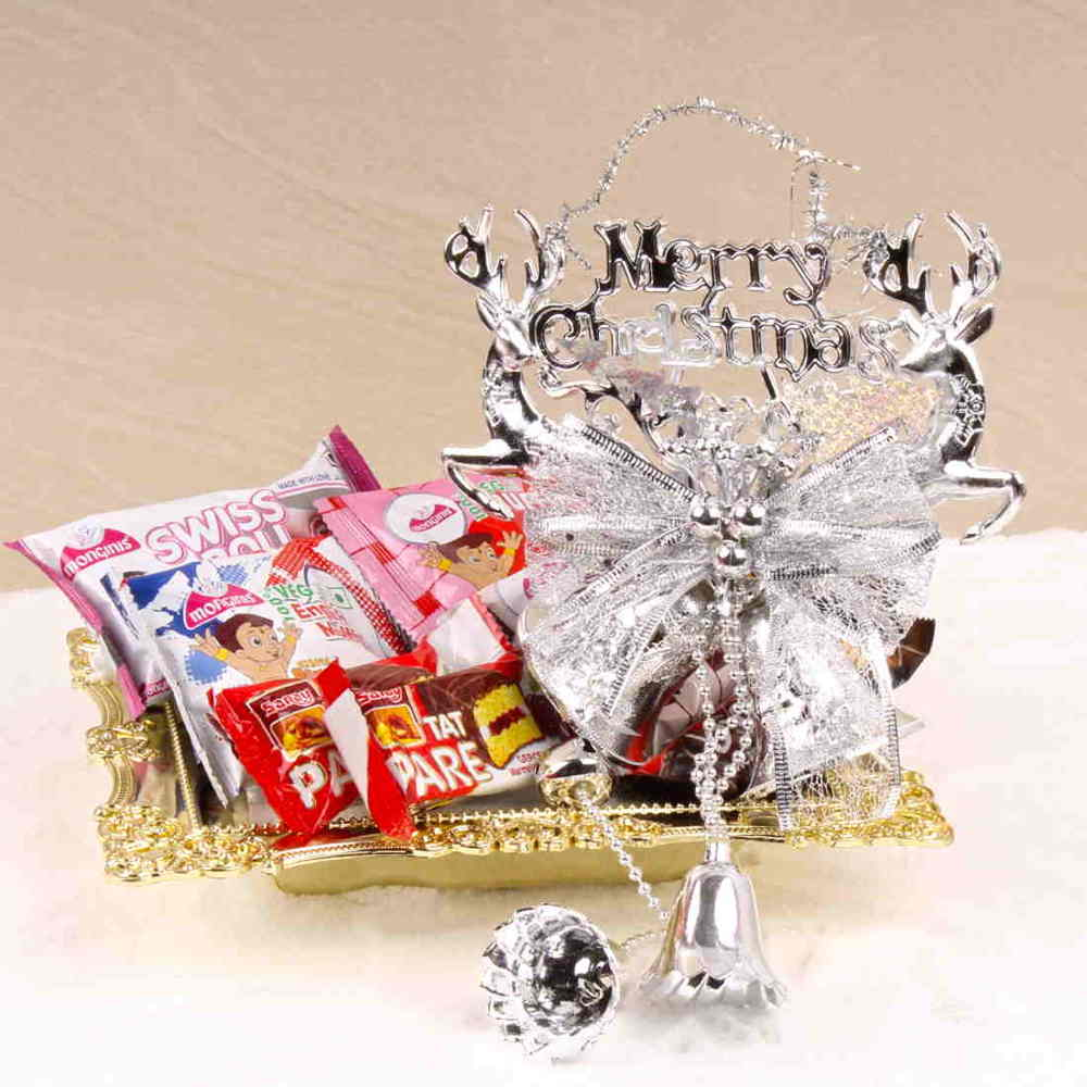 Christmas Hampers-Merry Christmas Bell with Cakes and Chocolate in a Tray