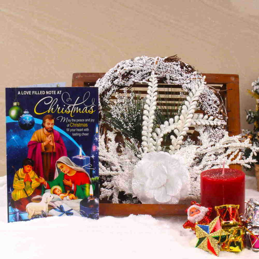 Snow White Christmas Wreath with Candles and Greeting Card
