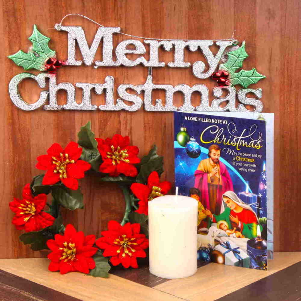 Xmas Floral Wreath and Card with Candle