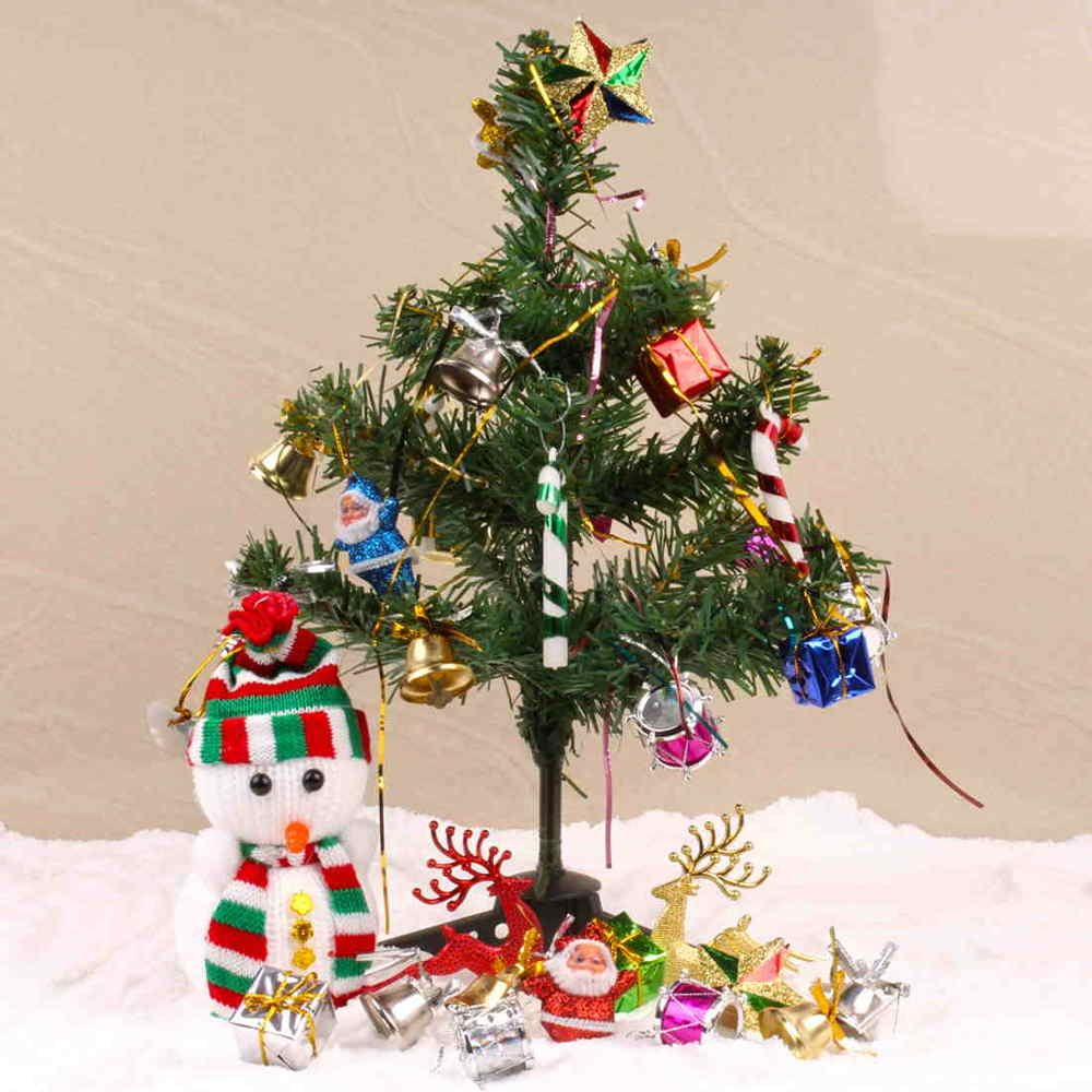 Decorative Christmas Tree with woolen Snowman